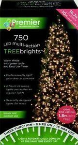 Premier 750 LED Multi-Action TreeBrights Christmas Tree Lights Timer WARM WHITE