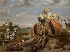PAINTING ANIMAL BIRD DE VOS FIGHTING COCK PEACOCKS ART PRINT LAH365A