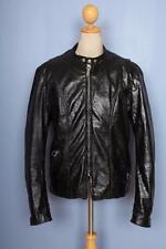 Vtg 60s BROOKS Leather Cafe Racer Motorcycle Jacket Fleece Liner Large