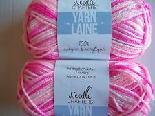 Needle Crafters variegated acrylic yarn, Cotton Candy, lot of 2 (115 yds ea)