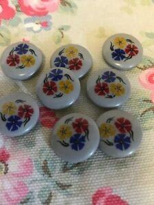 7 Multi Coloured  Flower  / Grey Background Vintage Plastic Buttons