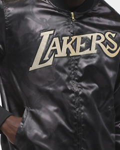 Mitchell & Ness LOS ANGELES LAKERS GOLD TOILE GOLDEN BLACK SATIN JACKET 4XL