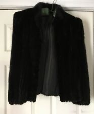 Vintage Black Brown Mink Fur Jacket  Coat Sz 8 Medium