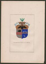 (Toscana) PALMIERI - NUTI DI SIENA. Grande stemma nobiliare + 5 pagine di testo