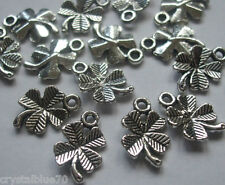 15 x Lucky 4 Leaf Clover Charms Antique Silver Tone 15x10mm Crafts Findings