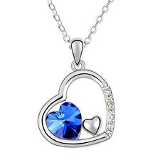 Amazing Silver & Royal Blue Heart Pendant Love Crystal Necklace N222