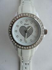 Reloj de Pulsera espíritu Reloj de Damas amor corazón empedrada Blanco Correa de a Cuarzo buzos