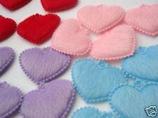 80 mix Fuax Furry Heart Applique/bow/doll/trim/cute L32