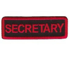 SECRETARY MOTORCYCLE CLUB - RED ON BLACK  PATCH