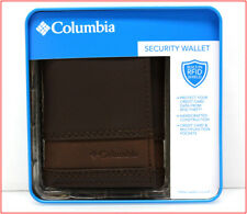 Columbia Mens LEATHER TRIFOLD RFID Wallet - Photo ID 6 Slot 2 Tone BROWN 🌟NEW🌟