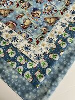 "Bundle Of 4 HOLIDAY ""LET IT SNOW"" New 100% Cotton Fabric Fat Quarters"