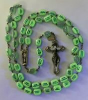 "† SCARCE VINTAGE GLOWS IN THE DARK LEGATURA ALPACCA ROSARY NECKLACE 34"" W/ TAG †"