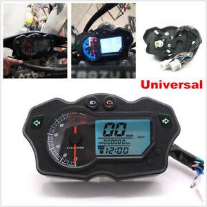 12000RPM Motorcycle 7 Color LCD Digital Speedometer Tacho Odo Gauge Waterproof