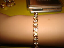 PRE-OWNED  BEAUTIFUL YELLOW GOLD COLORED TENNIS BRACELET WITH CZ'S
