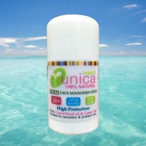 UNICA  ORGANIC NON NANO SUNSTICK SPF 50  GREEN TEA CARROT SEED OIL FOR ECZEMA
