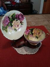 Vintage Yellow Stanley Tea Cup & Saucer, Pink & Yellow Cabbage Roses Gold Trim