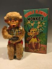 WORKING 1950s ALPS BATTERY OPERATED BUBBLE BLOWING MONKEY TIN LITHO TOY VINTAGE