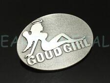 Good Girl Devil Belt Buckle MUDFLAP Brushed Metal Cute Girly Sexy Unique Vintage