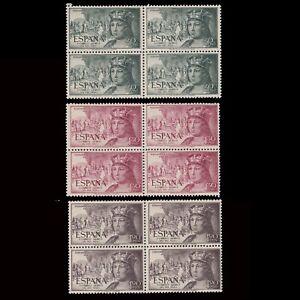 1951.Cent. Fernando Católico.3 Blq 4 MNH.Edifil.1111-13-15