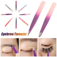 2Pcs Women Eyebrow Tweezers Stainless Steel Slant Tip Tweezers Beauty Tools UK