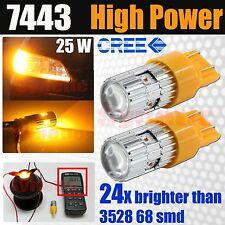 7443 7440 High Power 25W Cree LED Amber Yellow Turn Signal Parking Light Bulbs