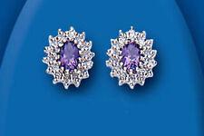 Ovale Echter Edelsteine-Ohrschmuck mit Diamant