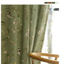 2XCustom French Country Cottage Provincial Shabby Chic Bird Green Curtain panel