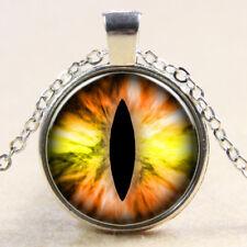 Vintage Cabochon Tibetan Silver yellow eye lizard Glass Chain Pendant Necklace