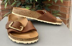 Birkenstock Madrid Big Buckle Ladies Sandals Cognac Size 38/5