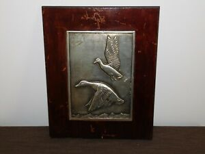 "VINTAGE ART 15"" X 12"" BRUCE FOX HAND WORKED METAL DUCKS FRAMED PICTURE SIGNED"