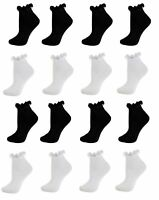 3 Pairs Black White Girls Frilly Lace Ankle Trainer Socks Size age 2-12 years