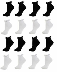 6 Pairs Black White Girls Frilly Lace Ankle Trainer Socks Size age 2-12 years