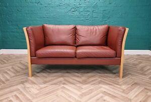 Mid Century Modern Retro Danish Stouby Cognac Brown Leather & Beech 2 Seat Sofa