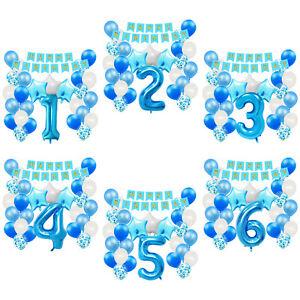 Geburtstag Deko Set - Girlande + Zahl Luftballon + Konfetti Ballons Blau wählbar
