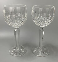 SET OF 2 NEW WATERFORD CRYSTAL LISMORE WINE GLASSES GOBLETS TALL STEM