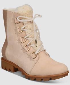 $255 Sorel Women's Beige Phoenix Waterproof Short Lace Lux Boots Shoes Size 7