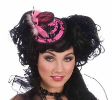 Sexy Mini Burlesque Pink Fancy Cocktail Top Hat Costume Accessory Black Lace New