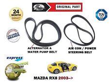 FOR MAZDA RX8 1.3 2003-> NEW ALTERNATOR FAN WATER PUMP BELT + AIR CON POWER BELT