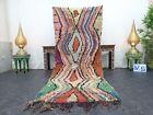 "Moroccan Handmade Vintage Boucherouite 3'2""x8'1"" Geometric Green Brown Carpet"