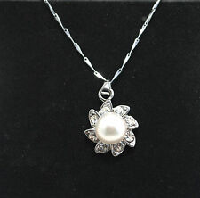 Natural White Cultured Freshwater Pearl Crystal Flower Necklace 8-9mm Gift Bag