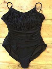 Black~24W~3X~BLAIRE Fringed Magicsuit Plus Size Lane Bryant One Piece Swimsuit!