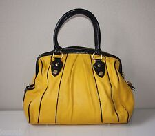 Rare! CYNTHIA ROWLEY YELLOW & BLACK LEATHER DOCTOR BAG Dr Bowler Satchel Purse