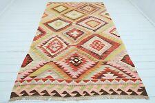 """Turkish Barak Kilim Rug, Diamond Design Rug, Area Rug, Carpet, Wool Rug 64""""x109"""""""