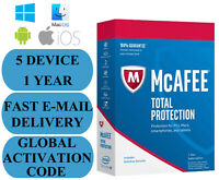 McAfee Total Protection 5 DEVICE 1 YEAR GLOBAL KEY 2021 EMAIL ONLY NO CD!!!