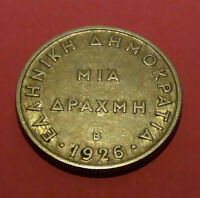Greece Coin 1926-- 1 Dr(B)- Goddess Athina VF Condition