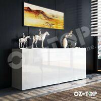 Modern High Gloss Sideboard Buffet Cabinet Storage Wooden 4 Doors Drawers White