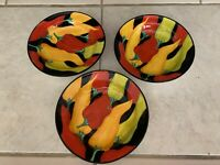 Set of 3 Clay Art Serving Bowls, Hot Chili Pepper Design Soups Etc. Hand Painted