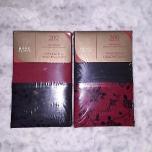 Home Trends Soft Percale King Pillowcases 200 TC Red & Black