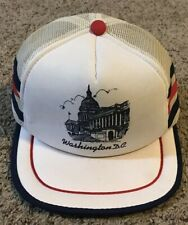 Rare Washington D.C. Capitol Three Stripe Mesh Trucker Hat, Red, White & Blue