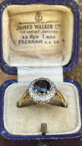 18ct Gold Sapphire And Brilliant-cut Diamond Cluster Engagement Ring Size M 4.2g
